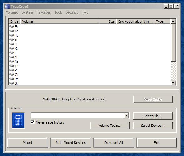 Finestra principale di TrueCrypt 7.2