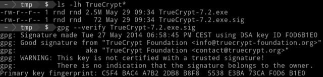 Verifica della firma dell'installer di TrueCrypt 7.2